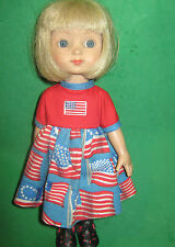 """RED & BLUE AMERICAN FLAG DRESS - Made to fit 10"""" ANN ESTELLE DOLL-4TH of JULY"""