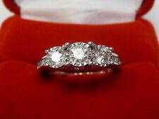 Real Natural 1.13 CT Three-Stone Diamond Engagement Ring 10k White Gold Sz 6.25