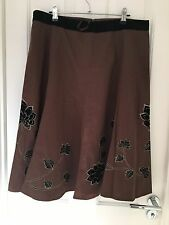 Gorgeous Chocolate Skirt Black Velvet Flower Gold Thread Embroidery, Wallis BNWT