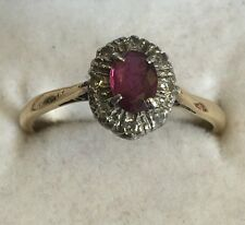 Vintage Solid 18ct Gold Platinum Set Diamond & Ruby Cluster Ring Size O