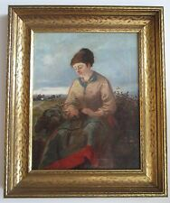 ANTIQUE Oil Painting Listed Britain Artist. COBBE H BERNARD (? - 1883).