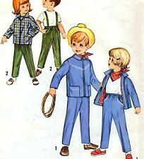 Vintage 60s GIRLS & BOYS JACKET Kerchief PANTS Childs UNCUT Sewing Pattern RETRO