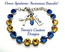 NEW! Beautiful DOWN SYNDROME Awareness 8mm Swarovski Elements Bracelet  PRETTY!