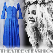 VINTAGE LAURA ASHLEY DRESS 12 38 10 FLORAL WEDDING BOHO LACE 40s 50s VICTORIAN
