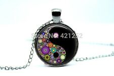 Glass Dome Cabochon Pendant Chain NECKLACE Gothic/ Steampunk : Yin-Yang Flowers