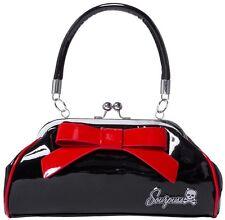 Sourpuss Kiss Lock Floozy Purse Metallic Black with Red Bow Rockabilly Hot Rod