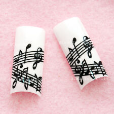 70pcs Airbrushed French False Nail Tips with Glue - Music Note E397Nail