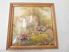 Vintage Mid Century Raised Bubble Glass 3D Pic Frame Shadow Box COTTAGE FLORAL