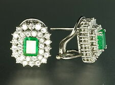 Emerald Diamond Double Halo 18K White Gold Vintage Earrings