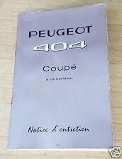 Peugeot 404 Coupé Notice d'entretien Mars 1963