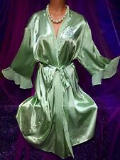New Sexy Green Chiffon Batwing Satin Liquid Gloss Robe L XL
