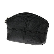 Women Genuine Leather Change Purse Mini Wallet Key Pouch Coin Bag Gift In Black