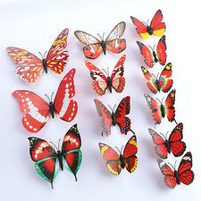 DIY Butterfly Wall Sticker Butterfly Home Decor Room Stickers Red 3D 12Pcs G