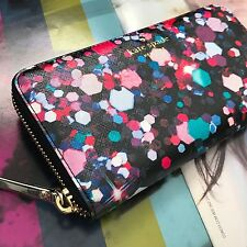 Kate Spade Black Pebble Leather Cobble Hill Lacey Zip Around Continental Wallet