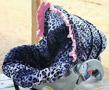snow leopard with baby pink satin ruffle infant car seat cover and hood cover