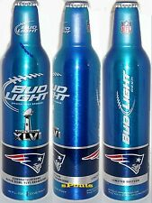 NEW ENGLAND PATRIOTS NFL 2012 SUPER BOWL FOOTBALL SPORT ALUMINUM BEER BOTTLE-CAN
