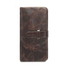 Casual Men Genuine Leather Oil Wax Vegetable tanning Purse Wallet Checkbook