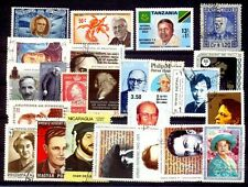 Personalities on Stamps-25 different-Large-Thematic Postage Stamps-Mostly Used