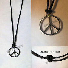 Necklace With Pewter Peace Sign  Pendant Adjustable One Size Fits All RM2001