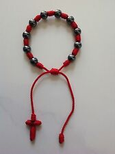New Red Decenario Rosary Stylish Pulseras Trendy Celebrity Bracelet Hematite 8mm