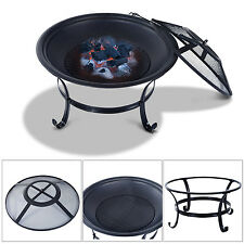 Outsunny Patio Fire Pit Fireplace Metal Burning Round Black Outdoor Backyard