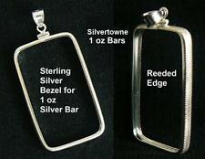 925 STERLING SILVER BEZEL for 1 oz Silvertowne JM Engelhard SILVER BAR 29x50 mm