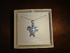 Tweeds~925 Sterling Silver~Necklace~Tortoise Pendant~Crafted in Mexico~NEW & BOX