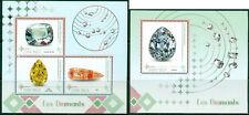 Minerals Mineraux Mineralien Diamonds Jewelry Madagascar MNH stamp set