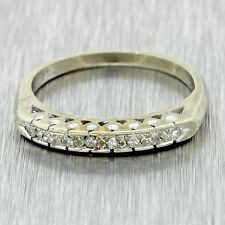 1930s Antique Art Deco Estate 14k Solid White Gold .08ctw Diamond Band Ring