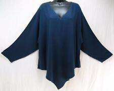 TIENDA HO~Navy Blue~MOROCCAN COTTON~L/S Monsoon Pointed Tunic Top~OS(M-2X?)