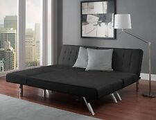 Queen Sleeper Sectional Sofa Set Black Faux Leather Couch Futon Chaise Furniture
