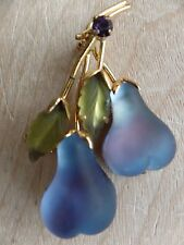 Vintage Austria Lavender Frosted Glass Double  Fruit  Pear  Brooch/Pin