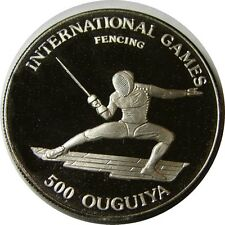 elf Mauritania 500 Ouguiya 1984 Proof  International Games Fencing