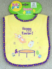 Kids 2 Grow YELLOW Easter Bunny on trampoline HOPPY EASTER! Easy Close Bib NWT