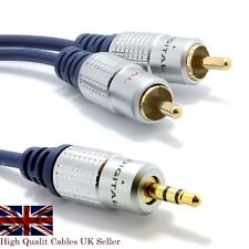 1m Pure OFC Pro Metal Cable 3.5mm Stereo Plug Jack to 2 RCA Phono TV DVD Lead