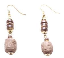 Charismatic & Earthly Brown Wood Centre & Brown Beads Metal Hook Earrings(Zx208)