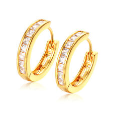 18K Gold Plated Square CZ Hollow Hoop Earrings Fashion Jewelry Elegant