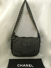 Authentic & Rare  CHANEL 'CHAINS BAG' Black Leather & Silver Hobo Shoulder Bag