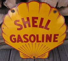 SHELL GASOLINE PORCELAIN ENAMEL GAS PUMP OIL SERVICE STATION METAL LOGO SIGN