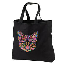Mosaic Cat New Black Cotton Tote Bag Gifts Events Travel Shop Books