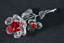 LAYING RED CRYSTAL & METAL STEM ROSE ORNAMENT GIFT FLOWER- New in box