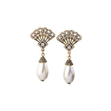 ANTHROPOLOGIE GOLD FAN CLEAR RHINESTONES WHITE PEARL 3'' DROP DANGLE EARRINGS