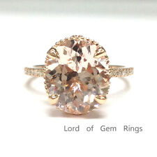 New 10x12mm Oval Cut Morganite Engagement Wedding Diamond Ring,14K Rose Gold,6#
