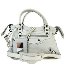 Auth BALENCIAGA Logos The Town 2Way Shoulder Hand Bag Leather White Italy 32R532