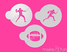 3 pcs Football  Stencil, Cookie Stencil, Airbrush Stencil, Schablone
