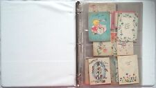 RARE 1940'S VINTAGE LOT 20+ ADORABLE USED BABY SHOWER GREETING CARDS WITH BINDER