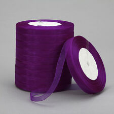 "New 50 Yards 3/8""10mm Satin Edge Sheer Organza Ribbon Bow Craft Wedding B-K27"
