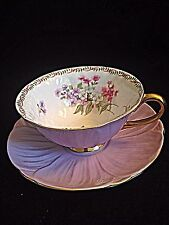 Shellley Lavender Gold Guilded Oleander Bone China Tea Cup And Sauce MINT