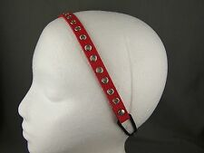 """Red faux leather grommet thin skinny headband hair band 7/16"""" wide stretch"""