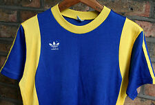 VTG 70s ADIDAS ERIMA TRIKOT BLUE YELLOW JERSEY SHIRT TOP 80s WEST GERMANY D5/6 M